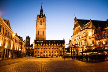 Ghent's Belfry and Sint-Baafsplein square at night, Ghent, Belgium