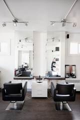 Chair and mirror area of hair salon