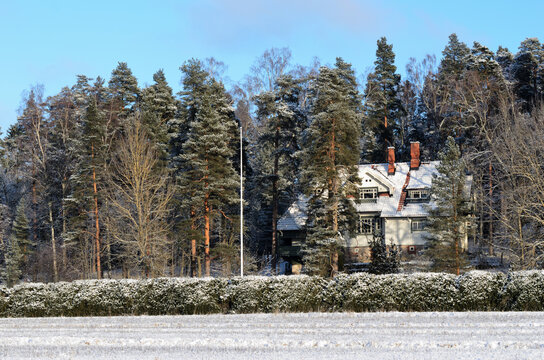 JARVENPAA, FINLAND, JANUARY 22, 2014: Ainola, the home great Finnish composer Jean Sibelius and his family in winter