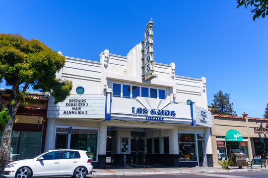 July 30, 2018 Los Gatos / CA / USA - Los Gatos Theatre building which was recently renovated with the maintaining of the Art Deco look and design, south San Francisco bay area