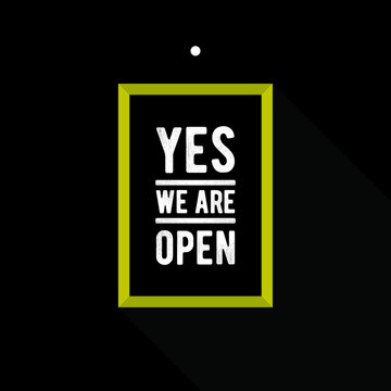 yes we are open sign symbol banner vector eps