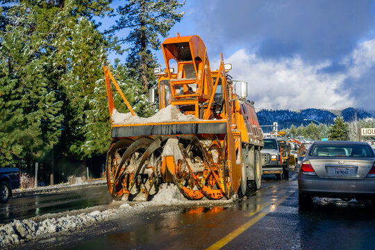 December 25, 2018 South Lake Tahoe - Snow removal equipment working the day after a snow storm