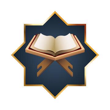 ramadan kareen golden star decoration and quran