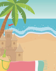 summer travel and vacation sand castle bucket towel palm beach