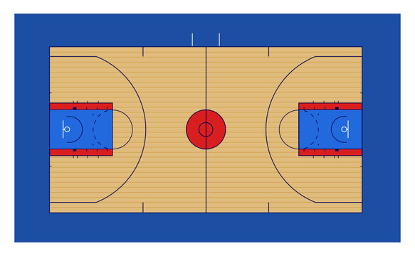 basketball court vector illustration with us NBA and NCAA markings