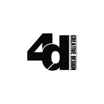 Letter 4D logo icon design vector. monogram logo vector illustration