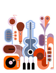 Papiers peints Art abstrait Flat style colored design isolated on a white background Music Instruments vector illustration. Art composition of guitar, saxophone, piano keyboard, trumpet, microphone and gramophone.
