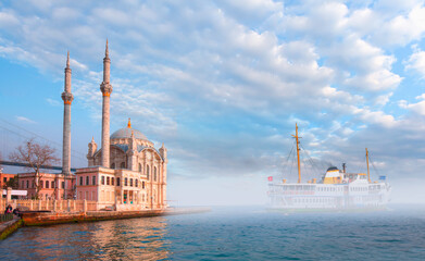 Ship In The Foggy Weather - Istanbul throat difficulties ferry ride in the fog - The Ortakoy Mosque