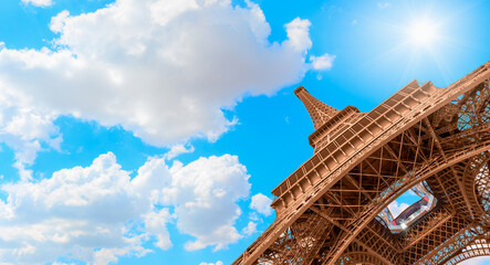 Eiffel tower in Paris, France. The Eiffel tower is the most visited touristic attraction in France