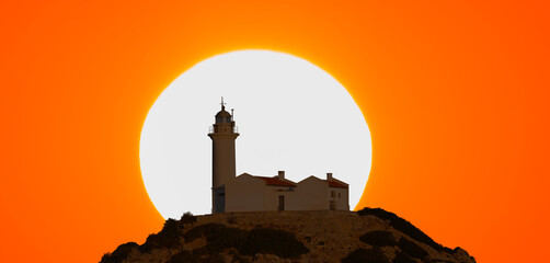 Knidos lighthouse at sunset - Datca Turkey