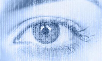 Close up of girl eye with binary code