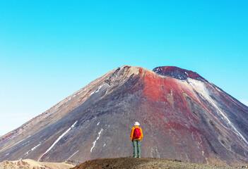 Wall Mural - Hike in New Zealand volcano