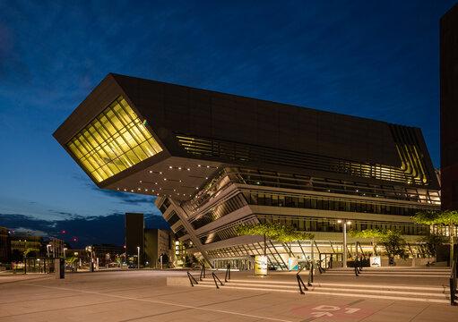 Vienna, Austria: the modern, futuristic  library of the   Economic University of Vienna designed by Zaha Hadid Architects