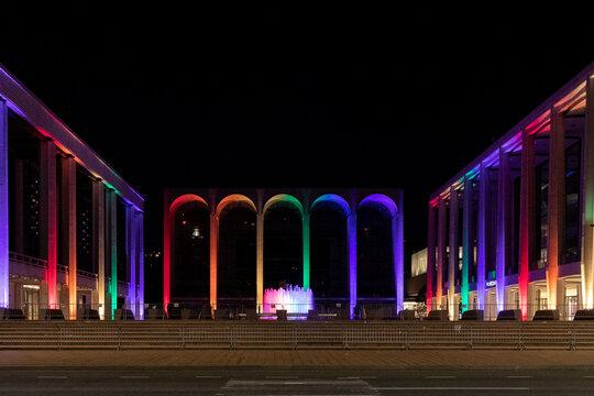 The Metropolitan Opera House is illuminated with a rainbow flag in Manhattan