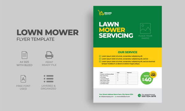 Lawn Mower Service Flyer Template.  lawn mower poster, leaflet, poster design. grass, equipment, mowing, gardener