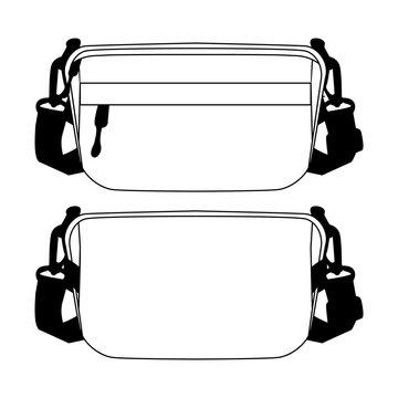 Sling bag vector illustration flat outline template