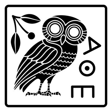 Greek ancient coin from Athens, vintage illustration. Old engraved illustration of an owl and an olive tree branch