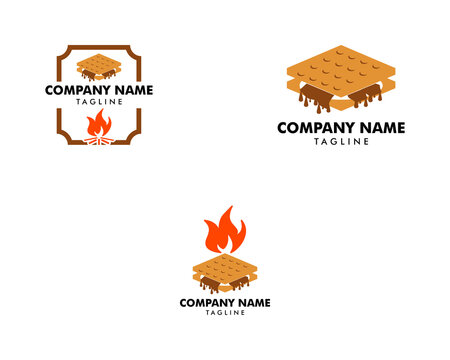 Set of S'more graham cracker, chocolate, and marshmallow logo template design