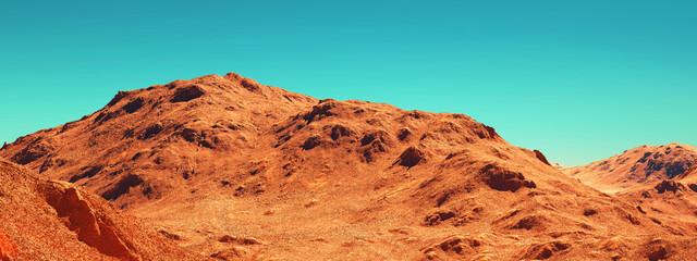 Marslandschap, 3d render van denkbeeldig Mars-planeetterrein, sciencefictionillustratie.