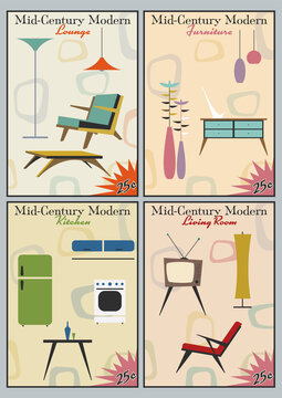 Mid Century Modern Life Style Retro Magazine's Cover Stylization, Furniture and Appliances, Electronic and Lighting 1950s Style