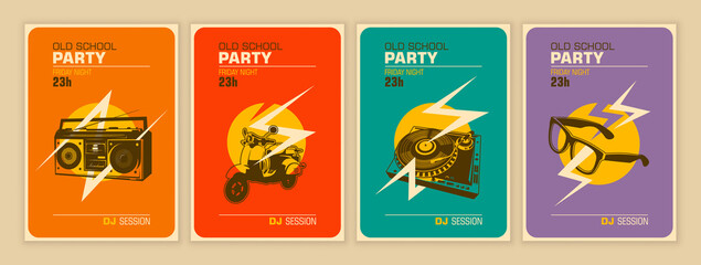 Set of party posters in retro style. Vector illustration.