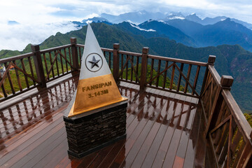 Sapa, Vietnam - October 08, 2018: View from the summit of the Fansipan Mountain, Sapa, Vietnam
