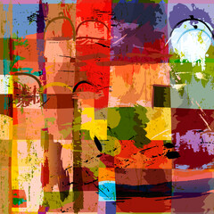 abstract background composition, with paint strokes, splashes and squares