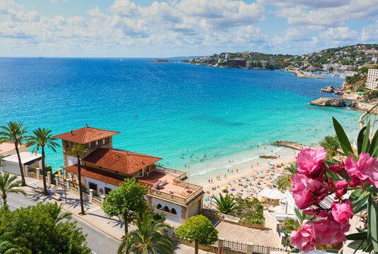 Top view at Cala Major beach in Palma de Mallorca, Spain