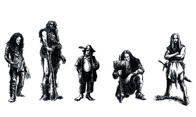 set of fantasy characters - black and white vector illustration