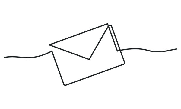 Continuous line drawing of envelope. Vector illustration