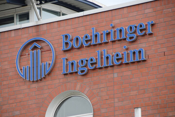 Dortmund, North Rhine-Westphalia / Germany - July 14, 2007:  Boehringer Ingelheim logo at the entrance of Boehringer Ingelheim microparts GmbH in Dortmund, Germany