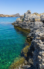 Panorama of Lindos in Rhodes island, famous for historic landmarks and beautiful beaches, in Greece.