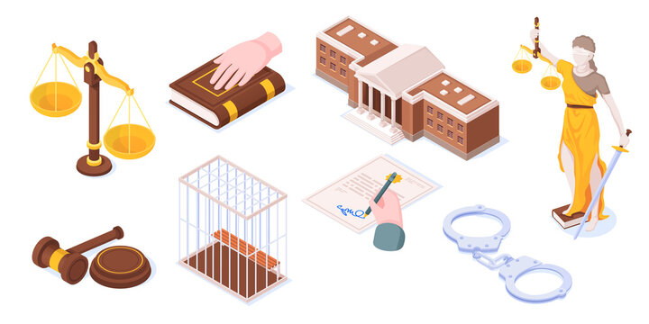 Law and justice isometric icons, legal court symbols of Themis and justice scales, judge gavel and law book. Courtroom and courthouse building, police handcuffs and verdict legislation document