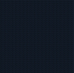 Knit texture dark blue color. Vector seamless pattern fabric. Knitting background flat design.