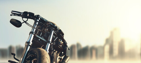 custom motorcycle on city skyline background
