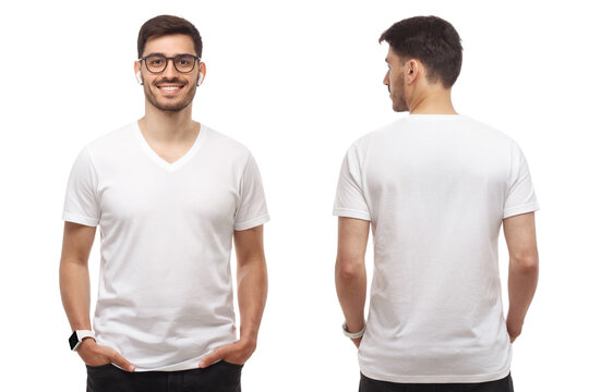 Front and back template of young man standing with hands in pockets, wearing blank tshirt with copy space and glasses, isolated on white background