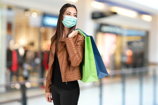 Young woman shopping during coronavirus pandemic