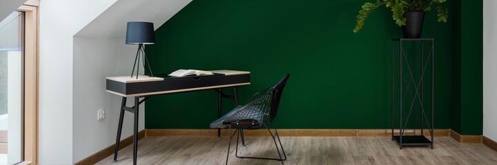 Study area in green wall room, panorama
