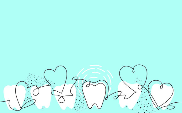 Creative Vector Seamless Pattern with Teeth and Hearts. Continuous Drawing Style. Vector illustration. Can be used as Background for Design Works.