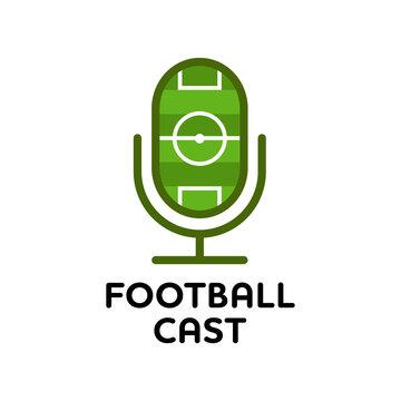Football podcast logo design illustration