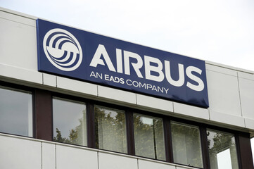 Hamburg /Germany - September 11, 2011: Airbus logo in Hamburg, Germany - Airbus designs, manufactures and sells civil and military aerospace products