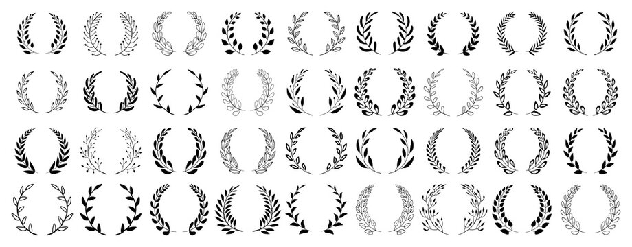 Set of black circular foliate laurels branches. Vintage laurel wreaths collection. Hand drawn vector laurel leaves decorative elements. Leaves, swirls, ornate, award, icon. Vector illustration.