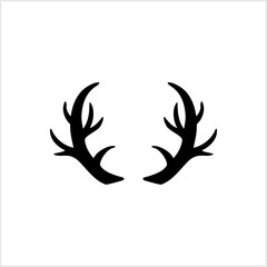 Deer horns design. Deer, reindeer. Animal silhouette. Black and white vintage. Simple hipster fashion logo. Deer antlers template. Vector stock illustration. EPS 10