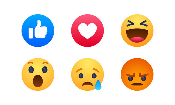 Social Media Post React Emoji thumbs up, Love, Smile, Wow, cry, Crying and Angry Icon Vector Illustrations