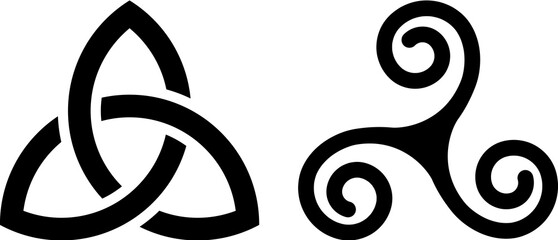 Celtic Triquetra knot and Celtic spiral isolated on white.