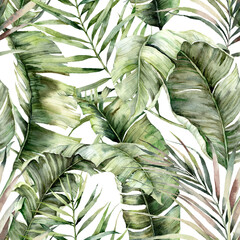 Fototapeta Watercolor seamless pattern with tropical palm leaves. Hand painted exotic leaves and branches isolated on white background. Floral jungle illustration for design, print, fabric or background. obraz