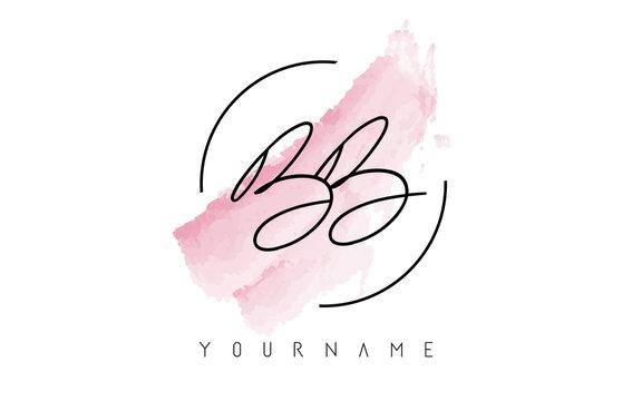 BB B Letters Logo with Pastel Watercolor Acquarella Brush Stroke
