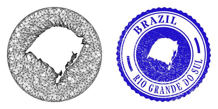 Mesh stencil round Rio Grande do Sul State map and grunge stamp. Rio Grande do Sul State map is stencil in a round stamp seal. Web mesh vector Rio Grande do Sul State map in a circle.