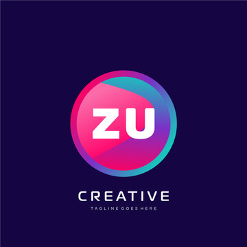 ZU initial logo With Colorful template vector.