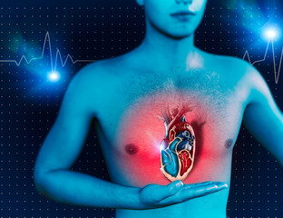 Man and heart, human anatomy, heart beat and attack. Cardiac medical examination, cardiac operation. 3d render